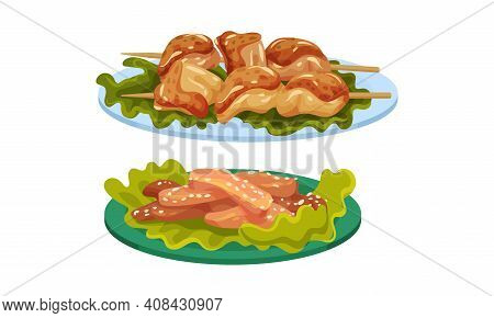Meat Dishes With Shashlik And Chicken Fillet Slabs Served On Plate Vector Set