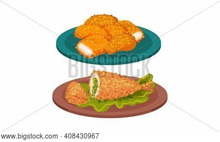 Meat Dishes With Deep Fried Chicken Nuggets And Stuffed Leg Served On Plate Vector Set