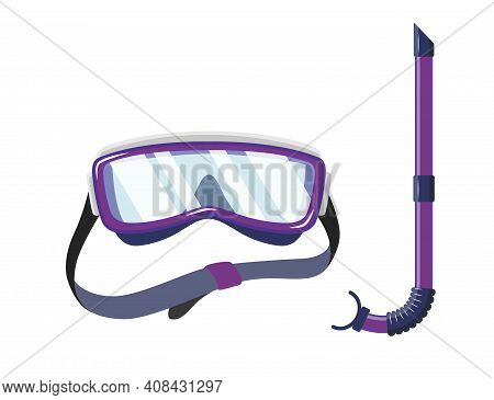 Snorkel Mask For Diving And Swimming. Illustration Of Scuba Diving, Swimming Masks With Snorkel. Rea