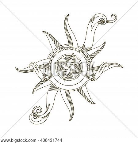 Retro Nautical Compass. Antique Nautical Old Vector Sign. Vintage Rose Of Wind For Sea Marine Naviga