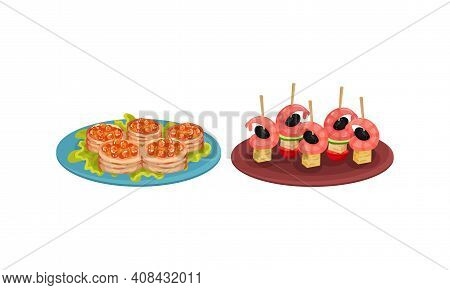 Finger Foods With Canape Topped With Shrimp And Caviar As Small Portion Of Food Vector Set