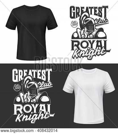 Tshirt Print With Knight Vector Mockup, Fight Club Mascot Medieval Warrior Wearing Helmet And Armor.