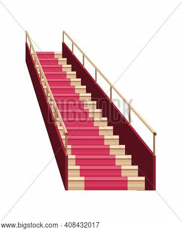 Staircase Luxurious Wooden Covered Red Carpet. Wooden Staircase Icon. Isolated Cartoon Flat Vector S