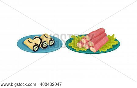 Finger Foods With Ham And Eggplant Wraps Stuffed With Creamy Condiment As Small Portion Of Food Vect