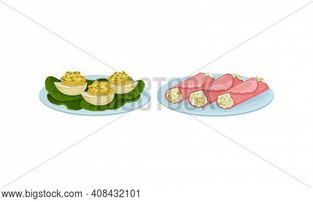 Finger Foods With Stuffed Eggs And Ham Wraps As Small Portion Of Food Vector Set