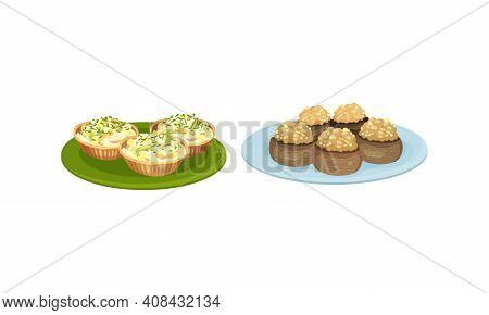 Finger Foods With Stuffed Tartlet And Potatoes With Savory Filling As Small Portion Of Food Vector S
