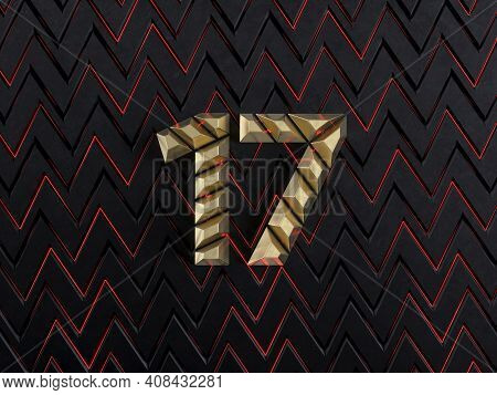 Number Seventeen (number 17) Made From Gold Bars On Dark Background With Cuts And Glow Of Red Neon L
