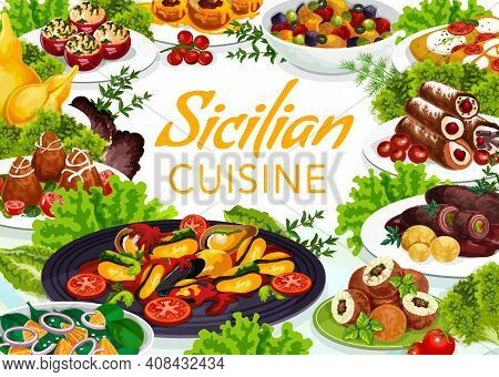 Sicilian Cuisine Vector Scaccia And Stuffed Tomatoes, Caciovallo And Caponata. Chops With Pesto Sauc