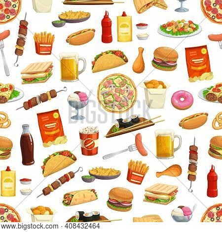 Fast Food Pattern Background Of Burgers, Sandwiches And Pizza, Vector Seamless Fastfood. Hamburgers,