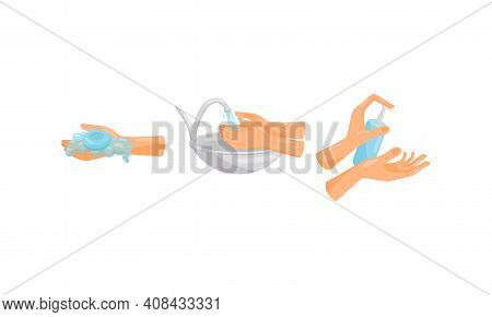 Human Hand Washing And Cleansing Skin Using Soap Vector Set