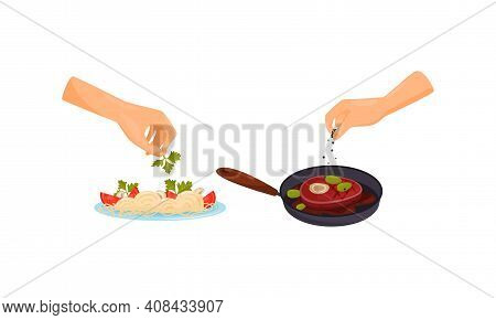 Hands Preparing Food Garnishing Pasta Dish With Parsley And Peppering Steak Vector Set