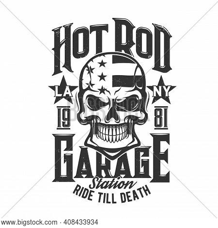 Skull With Flag Of Usa T-shirt Print Mockup Of Vector Garage Or Service Station. Dead Human Skeleton