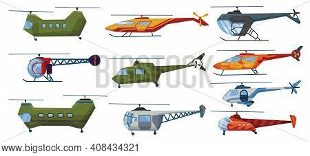 Helicopter Cartoon Aviation Set. Avia Transportation With Propeller Isolated On White. Vector Copter