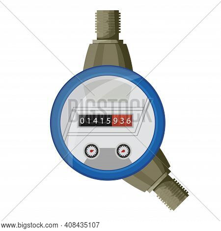 Meter Counter. Water Power Measurement. Cold Water Meter To Record Consumption. Isolated Vector Cart