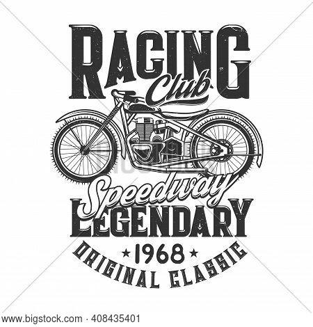 Tshirt Print With Off Road Retro Bike For Racing Club, Sports Team Apparel Vector Design. T Shirt Pr
