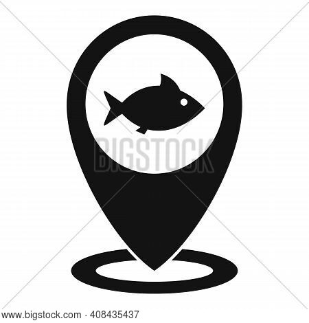 River Fish Location Icon. Simple Illustration Of River Fish Location Vector Icon For Web Design Isol