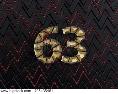 Number Sixty-three (number 63) Made From Gold Bars On Dark Background With Cuts And Glow Of Red Neon
