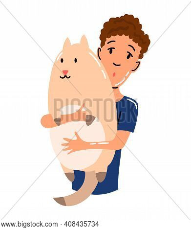 People And Pet. Cat Pet Owner Character. Owner Hugging Cat. Young Boy Love Him Animal. Cute And Ador