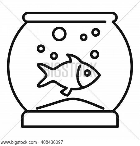 Fish Home Aquarium Icon. Outline Fish Home Aquarium Vector Icon For Web Design Isolated On White Bac