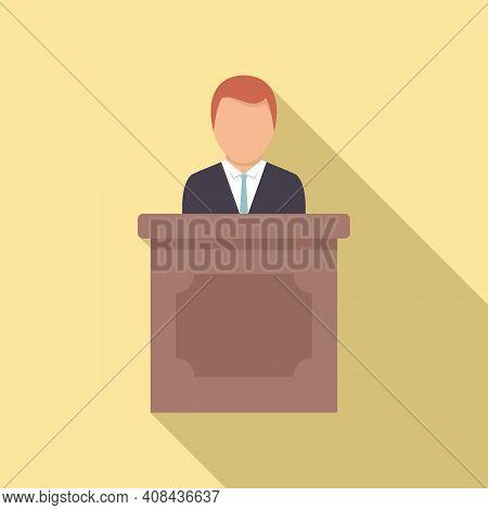 Prosecutor Tribune Icon. Flat Illustration Of Prosecutor Tribune Vector Icon For Web Design