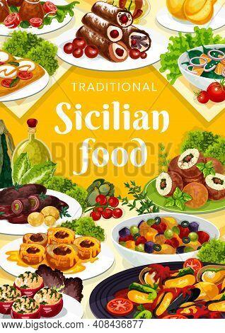 Sicilian Food Vector Stuffed Tomatoes, Caciovallo And Cannoli, Caponata, Chops With Pesto Sauce. Ara