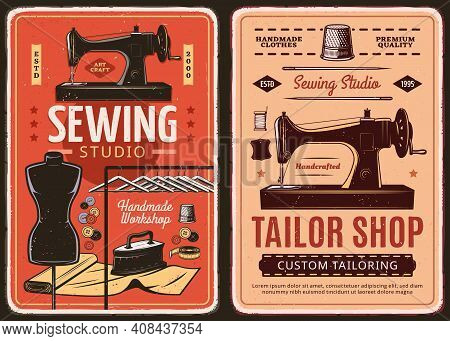 Sewing Studio And Tailor Shop Retro Posters. Custom Tailoring And Clothing Repair Workshop Vintage B