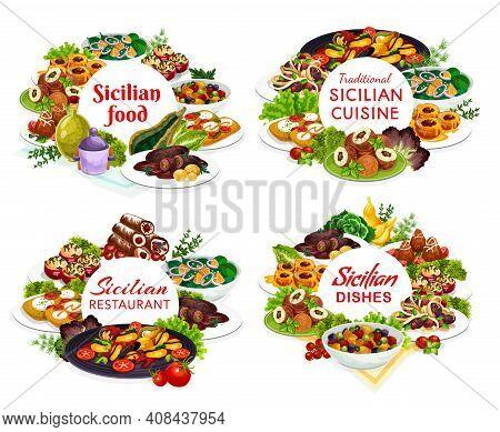 Sicilian Meals Vector Arancini, Stuffed Tomatoes, Caciovallo, Cannoli, Caponata, Chops With Pesto Sa