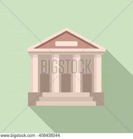 Judge Building Icon. Flat Illustration Of Judge Building Vector Icon For Web Design