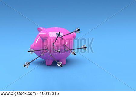 Pig Bank Arrow Attack In Blue Background ,3d Render