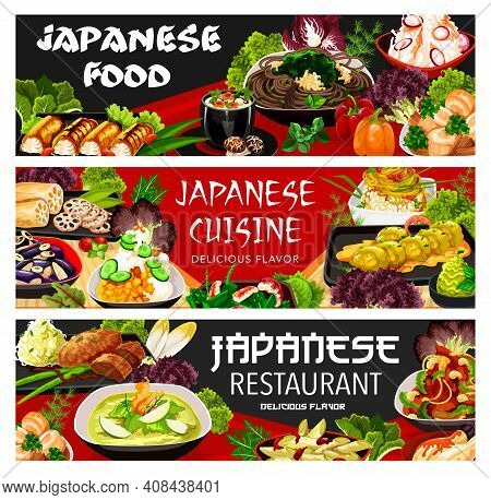 Japanese Food Cuisine Dishes Menu And Meals, Japan Asian Restaurant Banners. Japanese Cuisine Udon N