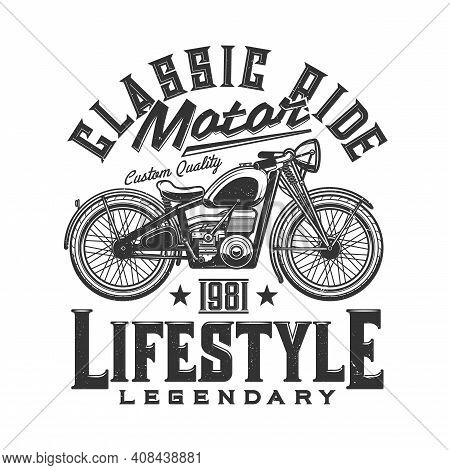 Tshirt Print With Custom Bike, Retro Off Road Motorcycle, Apparel Vector Design. T Shirt Monochrome
