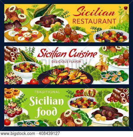 Sicilian Vector Meals Stuffed Tomatoes, Cannoli, Caponata, Chops With Pesto Sauce. Arancini With Mea