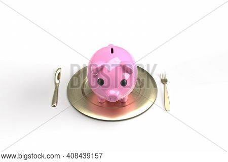 Pink Pig Bank Plating With Cutlery,3d Render