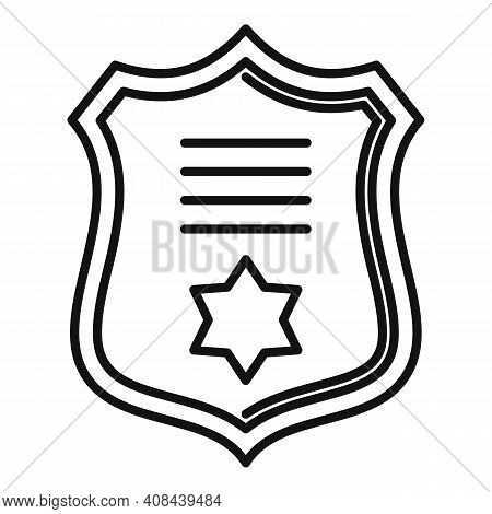 Prosecutor Gold Emblem Icon. Outline Prosecutor Gold Emblem Vector Icon For Web Design Isolated On W