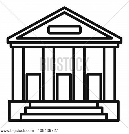 Judge Building Icon. Outline Judge Building Vector Icon For Web Design Isolated On White Background