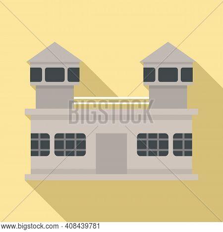 Prison Building Icon. Flat Illustration Of Prison Building Vector Icon For Web Design