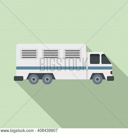 Prison Truck Icon. Flat Illustration Of Prison Truck Vector Icon For Web Design