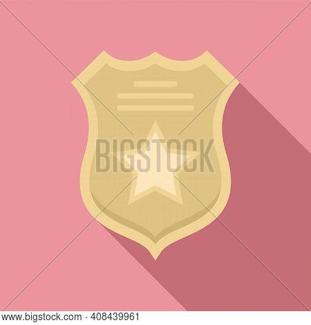 Prison Guard Shield Icon. Flat Illustration Of Prison Guard Shield Vector Icon For Web Design