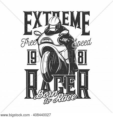 Tshirt Print With Racer Riding Off Road Bike, Vector Mascot For Sports Team Apparel Design. T Shirt