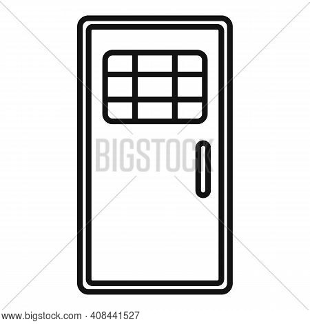 Prison Metal Door Icon. Outline Prison Metal Door Vector Icon For Web Design Isolated On White Backg