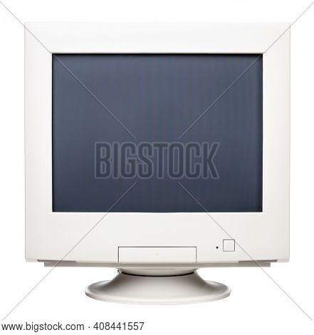 Obsolete CRT computer monitor with blank screen isolated on white background