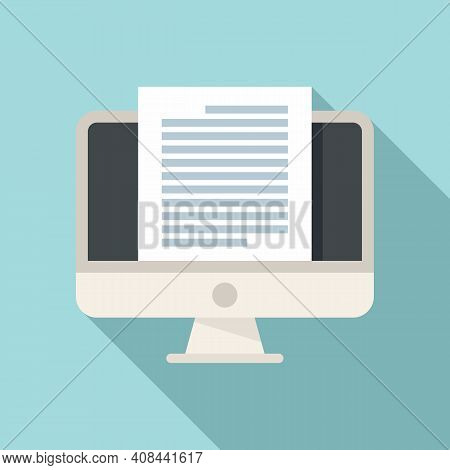 Notary Pc Monitor Icon. Flat Illustration Of Notary Pc Monitor Vector Icon For Web Design
