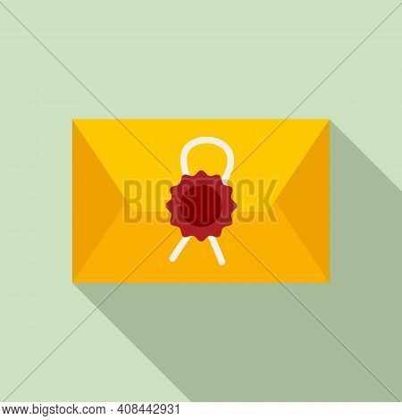 Notary Testament Letter Icon. Flat Illustration Of Notary Testament Letter Vector Icon For Web Desig