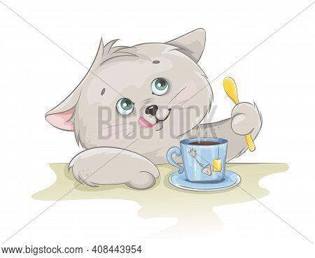 Cute Kitten Having A Cup Of Tea. Funny Kitten Cartoon Character. Stock Vector Illustration On White