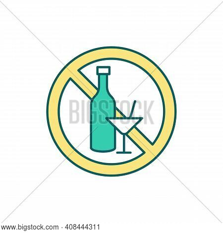 Alcohol Ban Rgb Color Icon. Excessive Alcohol Consumption Stop. Alcoholism Prevention. Changing Drin