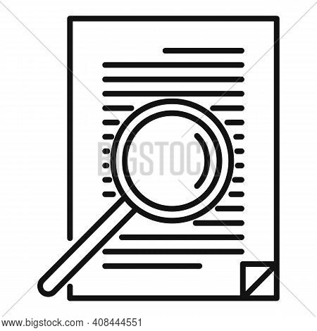 Notary Magnifier Paper Icon. Outline Notary Magnifier Paper Vector Icon For Web Design Isolated On W