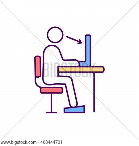 Supporting Correct Posture Rgb Color Icon. Healthy Back. Correct Sitting Position In Workplace. Slou