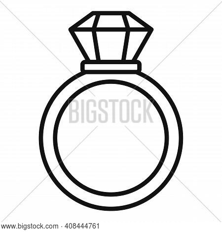 Notary Gold Ring Icon. Outline Notary Gold Ring Vector Icon For Web Design Isolated On White Backgro