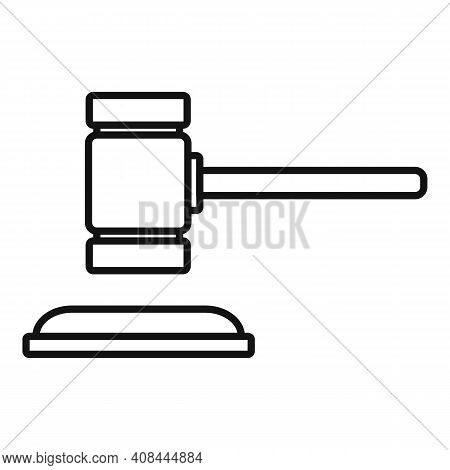 Notary Wood Gavel Icon. Outline Notary Wood Gavel Vector Icon For Web Design Isolated On White Backg