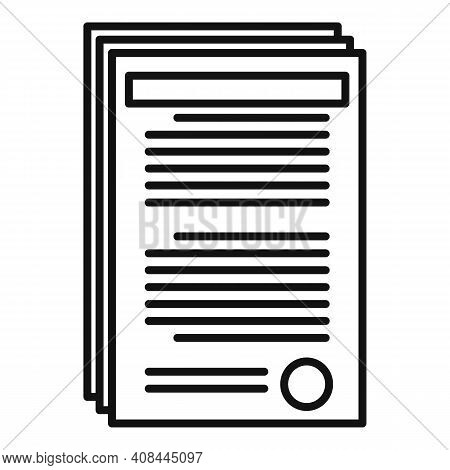 Notary Documents Icon. Outline Notary Documents Vector Icon For Web Design Isolated On White Backgro